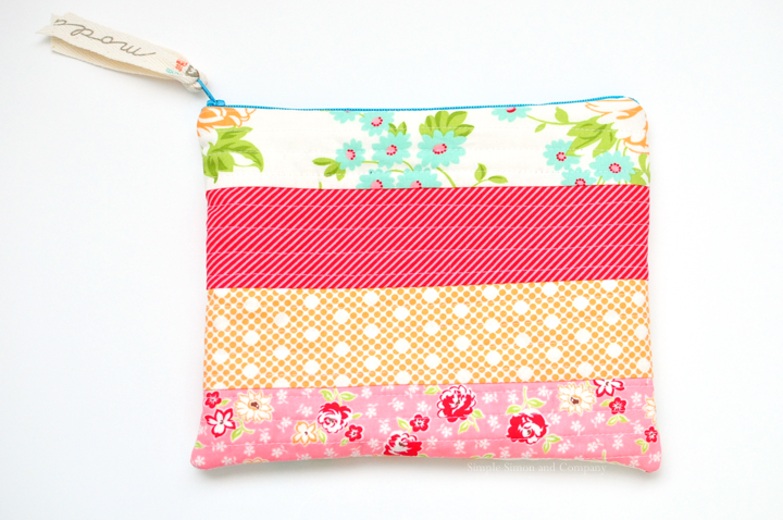 quilt-as-you-go zipper pouch end shot