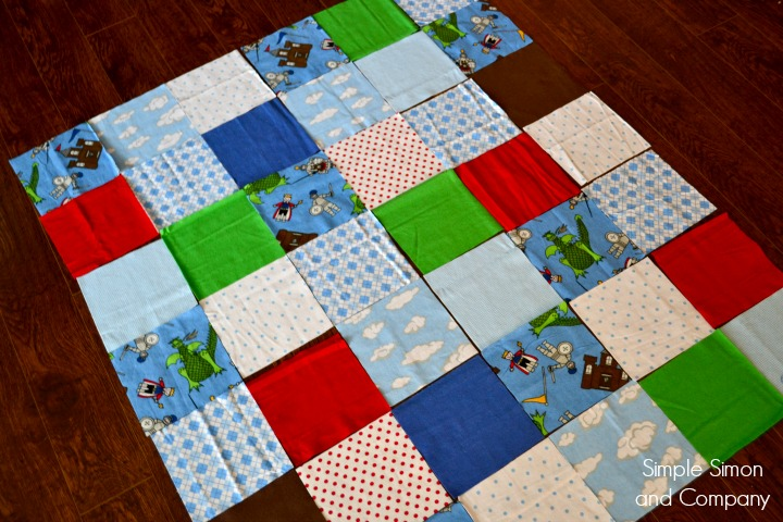 Rag Square Baby Blanket Step 1