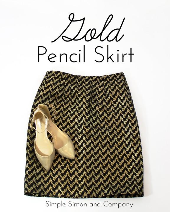 gold pencil skirt