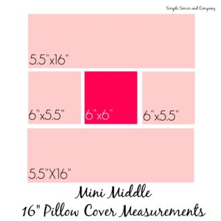 Mini Middle pillow cover measurements
