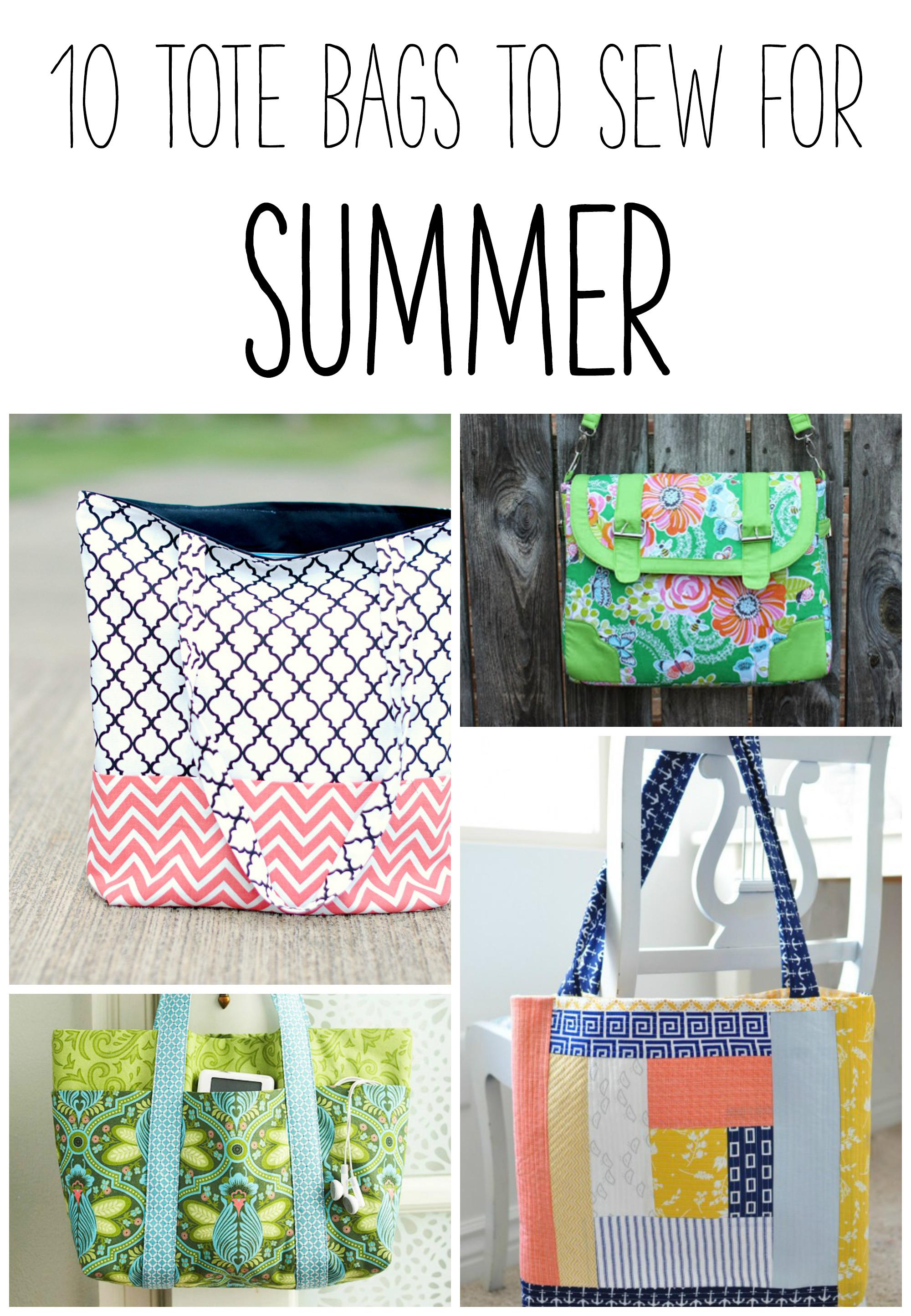 10 Summer Makeup Must Haves: 10 Tote Bags To Sew For Summer!