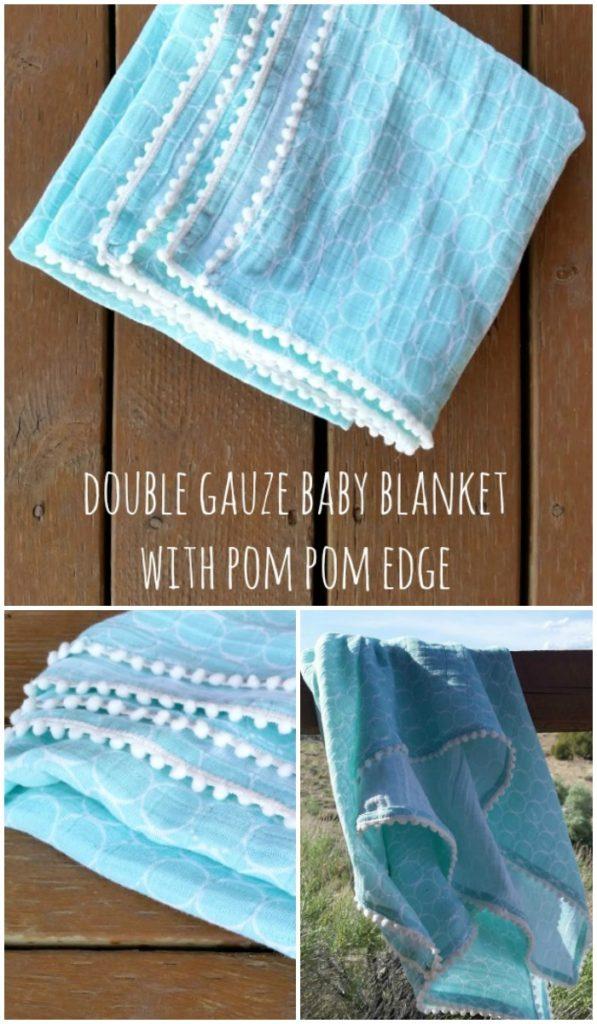 pom pom edge double gauze baby blanket tutorial