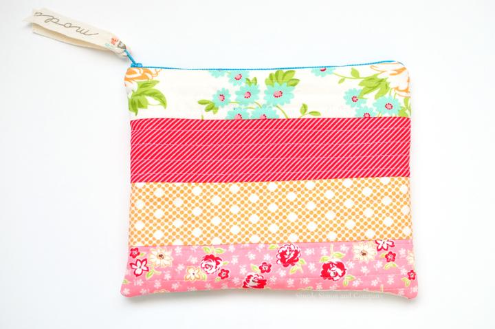 quilt-as-you-go zipper pouch end shot