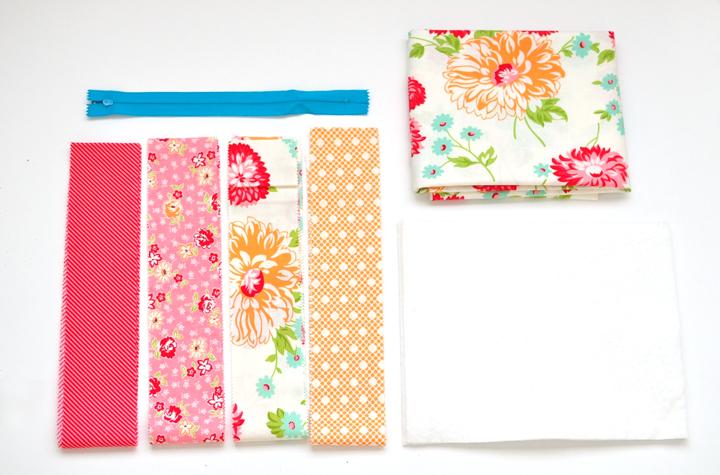 quilt-as-you-go zipper pouch supplies