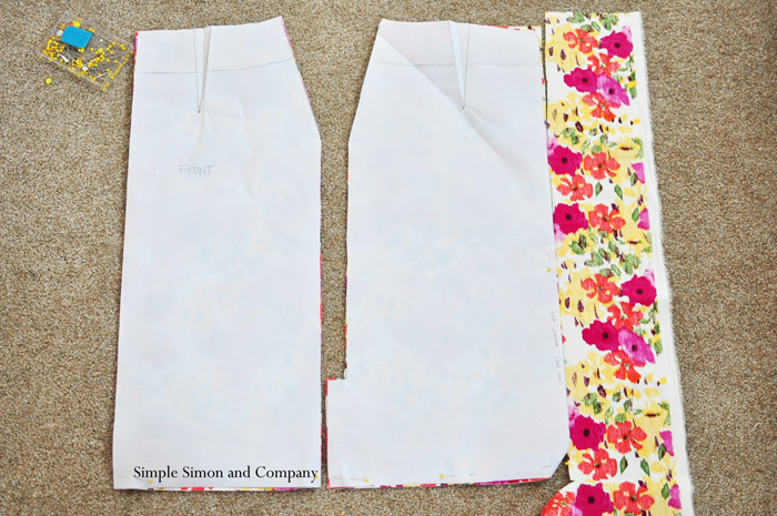 cut out your skirt front and back