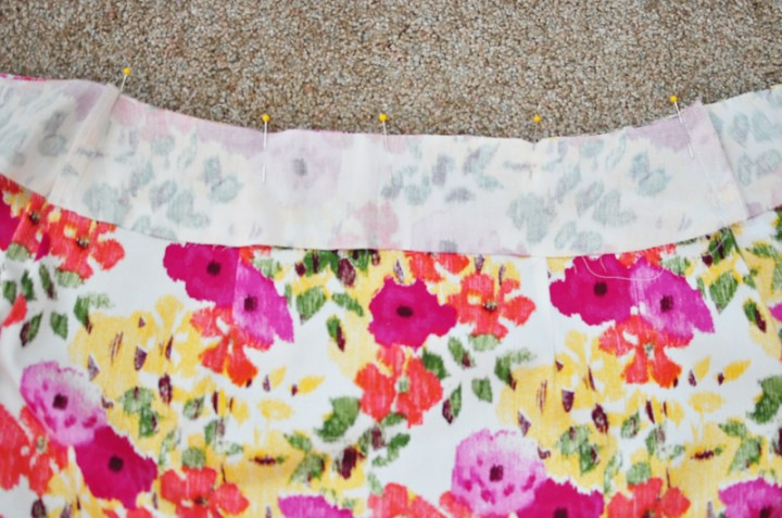 sew facings to skirt