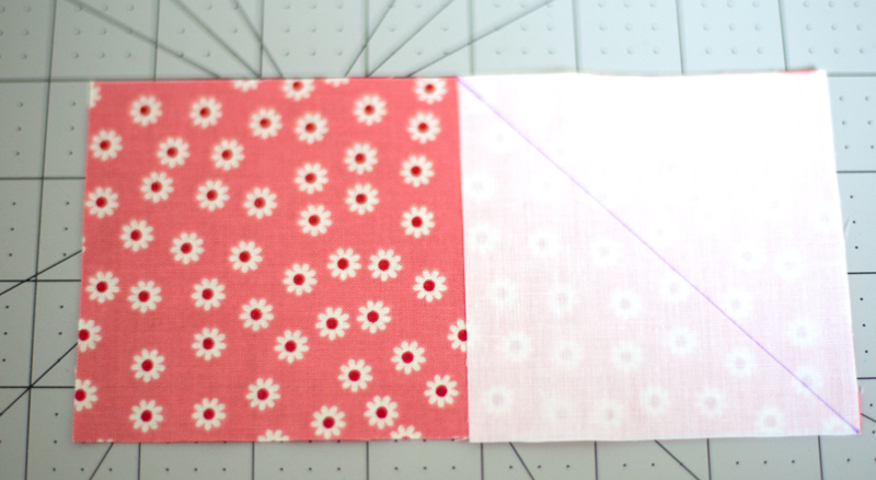 Flying Geese Quilt block step 1